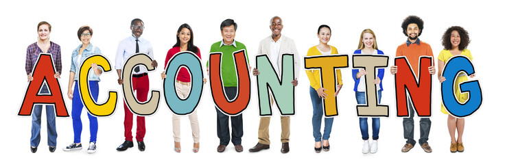 Multiethnic People Holding Letter Accounting