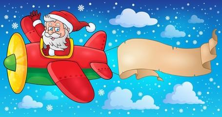 Santa Claus in plane theme image 5