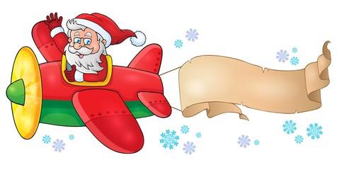 Santa Claus in plane theme image 6