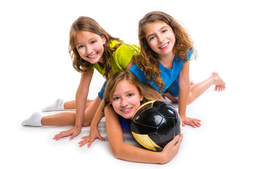 football soccer girls team portrait with ball