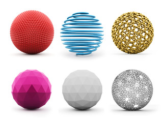 Six abstract spheres colored isolated on white