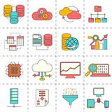 Data analysis flat line icons