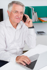 Mature man working with computer and talking on a mobile phone