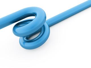 Blue spiral string rendered on white