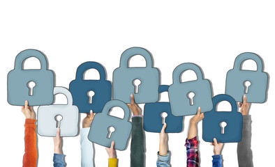 Group of Diverse People's Hands Holding Padlocks