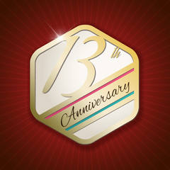 13th Anniversary - golden Seal, Badge on red rays background