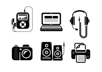 Icons in black for multimedia and office devices
