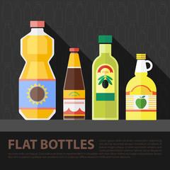 Vector color flat kitchen bottle set