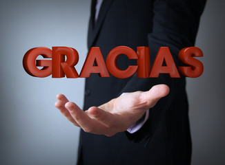 thanks in spanish over businessman