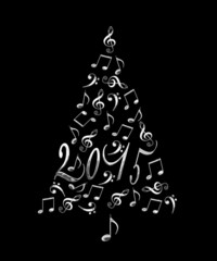 2015 christmas tree with silver metal musical notes