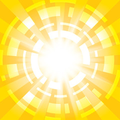 yellow abstract background with radial abstractions - vector