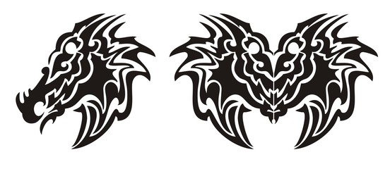 Tribal dragon head symbol and dragon butterfly tattoo