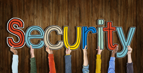Security Word Concepts with Wooden Background