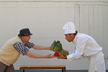 Gemüße, Koch und Bauer