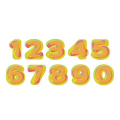 Colorful Numbers stylized  jelly or lemonade with bubbles