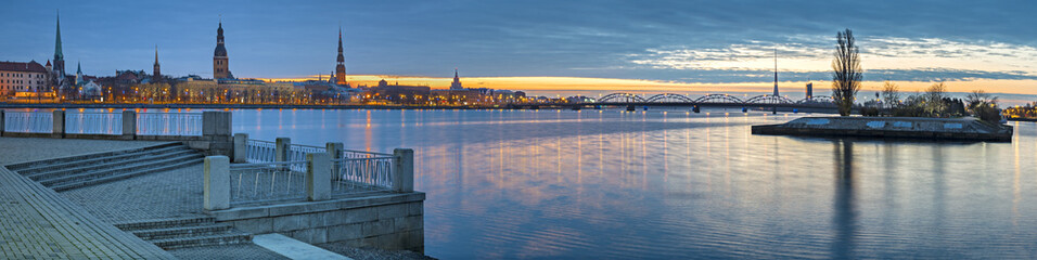 Panoramic view on old city of Riga, Latvia