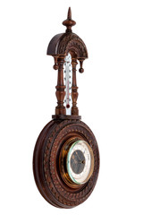 The vintage wooden barometer