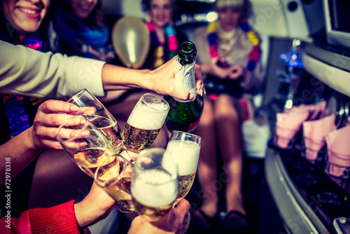 canvas print picture Hen-party with champagne