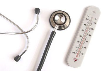 Thermometer with stethoscope