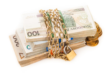 money chain and lock isolated on white