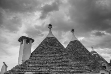 trulli in monochrome