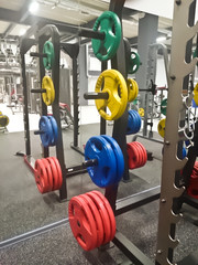 Trainer power frame with discs for rod