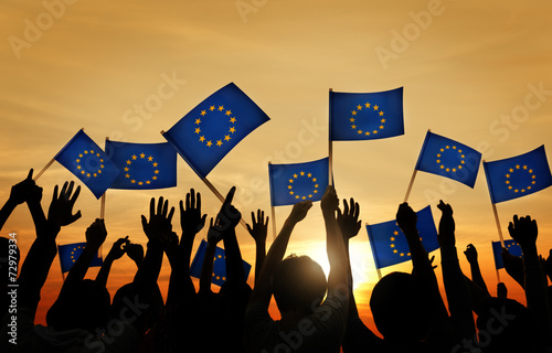 canvas print picture People Waving European Union Flags