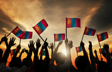Group of People Waving Mongolian Flags