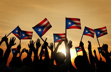 Group of People Waving Flag of Puerto Rico