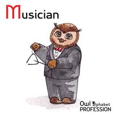 Alphabet professions Owl Letter M - Musician Vector Watercolor.