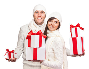 Young couple with christmas gifts