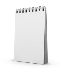 Blank white copybook template with elastic band and bookmark.