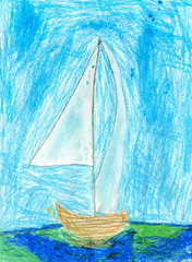 Child Drawing of Sailboat, Oil Pastels