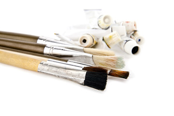 brushes and tubes with a paint