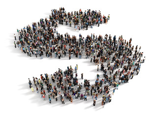 Large group of people forming the symbol of a dollar sign. Conce