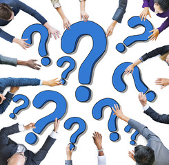 Diverse Business People with Question Marks