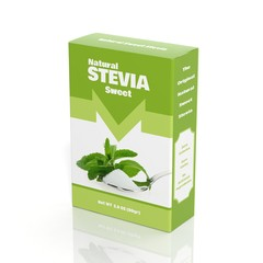3D Stevia paper package isolated on white