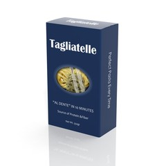 3D Tagliatelle paper package isolated on white