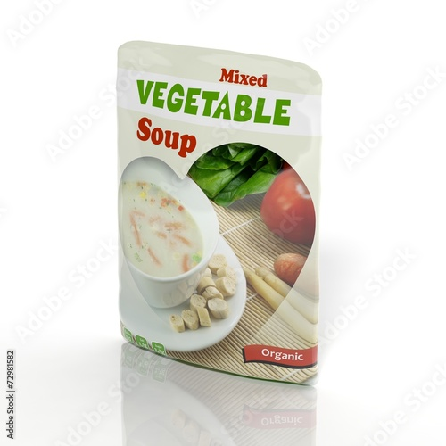3D Vegetable Soup packet isolated on white