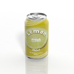 3D Lemon Soda can isolated on white