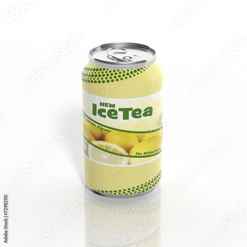 3D Ice Tea can isolated on white