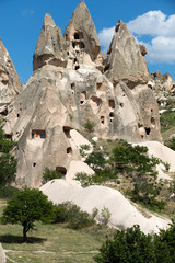 view of Uchisar castle in Cappadocia