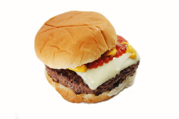 Delicious Burger with Cheese and Condiments