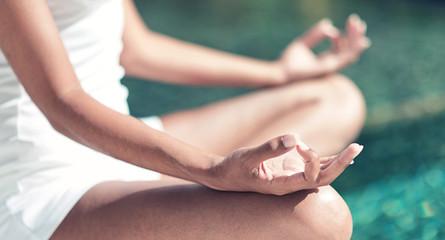 Close up Lotus Yoga Hand Gesture