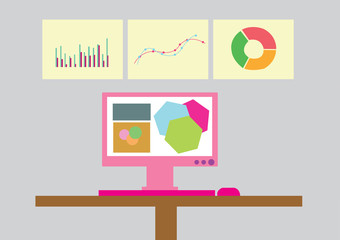 analytic business graph and SEO. vector illustration