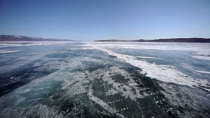 Drive the car across the frozen Lake Baikal, long video