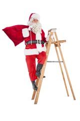 Santa claus climbing a ladder