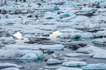 Detail view of many icebergs on glacier lagoon, Iceland.