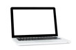 White Laptop with blank screen isolated
