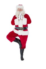 Santa claus in tree pose